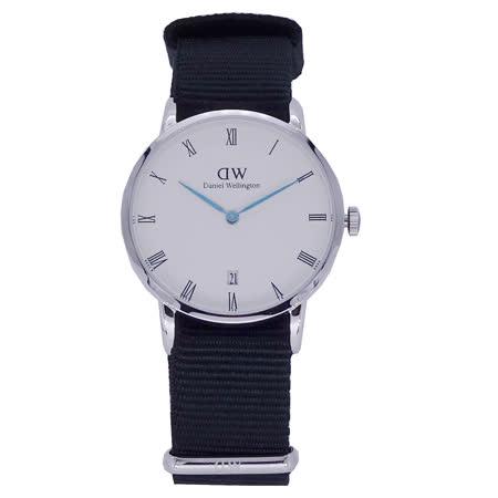 Daniel Wellington 羅馬時尚黑帆布腕錶