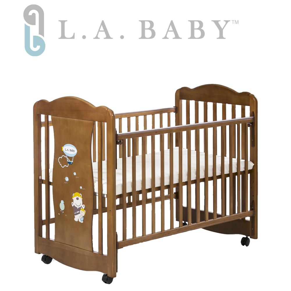 L.A. Baby 美國加州貝比 奧蘭多嬰兒搖擺大床/原木床/童床(淺咖啡色)