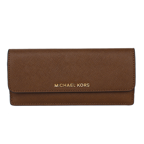 MICHAEL KORS- 金logo 防刮皮革薄型翻扣長夾(駝)