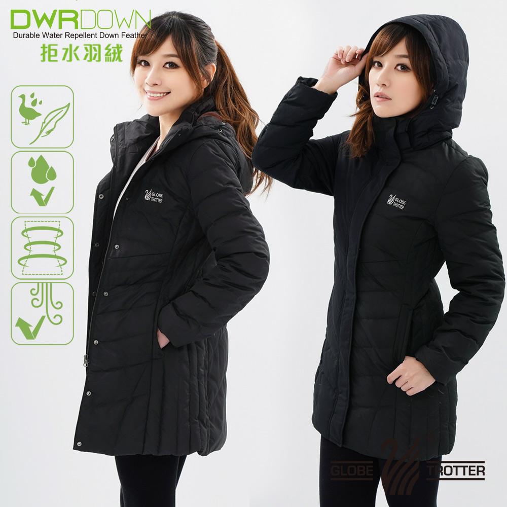 【遊遍天下】女款長版JIS90%拒水羽絨防風防潑水禦寒外套G0331黑色