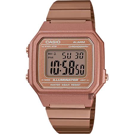 CASIO 卡西歐 復古文青大數字電子錶-玫瑰金 B650WC-5ADF