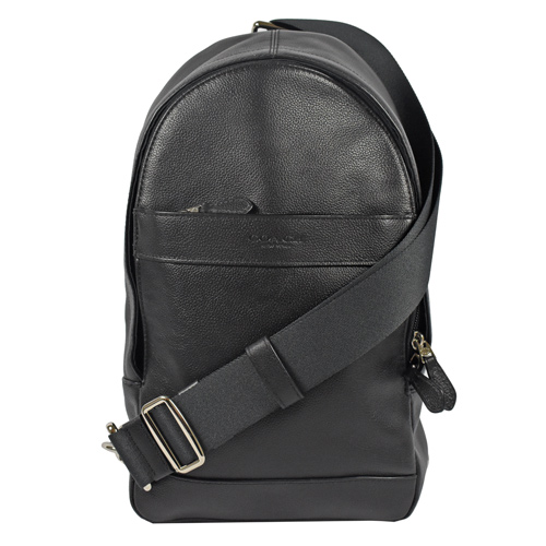 COACH  經典LOGO烙印全皮革單背後背包.黑