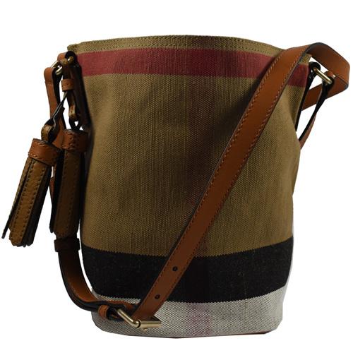BURBERRY  經典格紋棉麻流蘇斜背水桶包.駝/咖