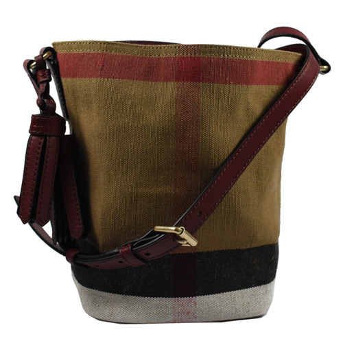 BURBERRY 經典格紋棉麻流蘇斜背水桶包.駝/紅