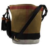 BURBERRY 經典格紋棉麻流蘇斜背水桶包.駝/黑