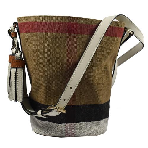 BURBERRY 經典格紋棉麻流蘇斜背水桶包.駝/白