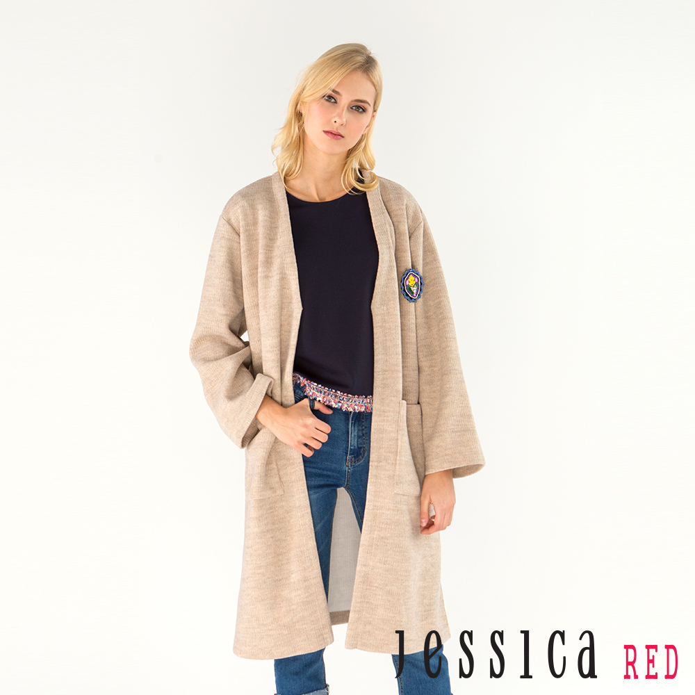 JESSICA RED - 率性立體徽章雙口袋長版外套(棕褐)