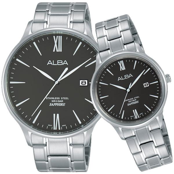 ALBA雅柏 東京流行時尚對錶(黑/43+30mm) VJ42-X238D+VJ22-X267D