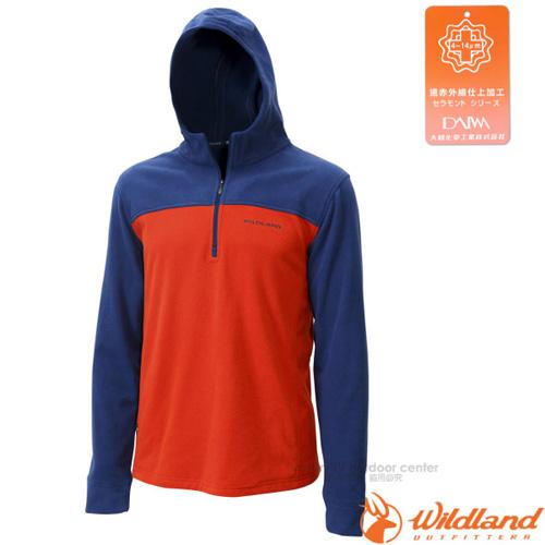 【荒野 WildLand】男款 遠紅外線PILE連帽衣.刷毛保暖衣.機能中層衣./蓄熱保暖.吸濕排汗透氣/0A12508 橘色