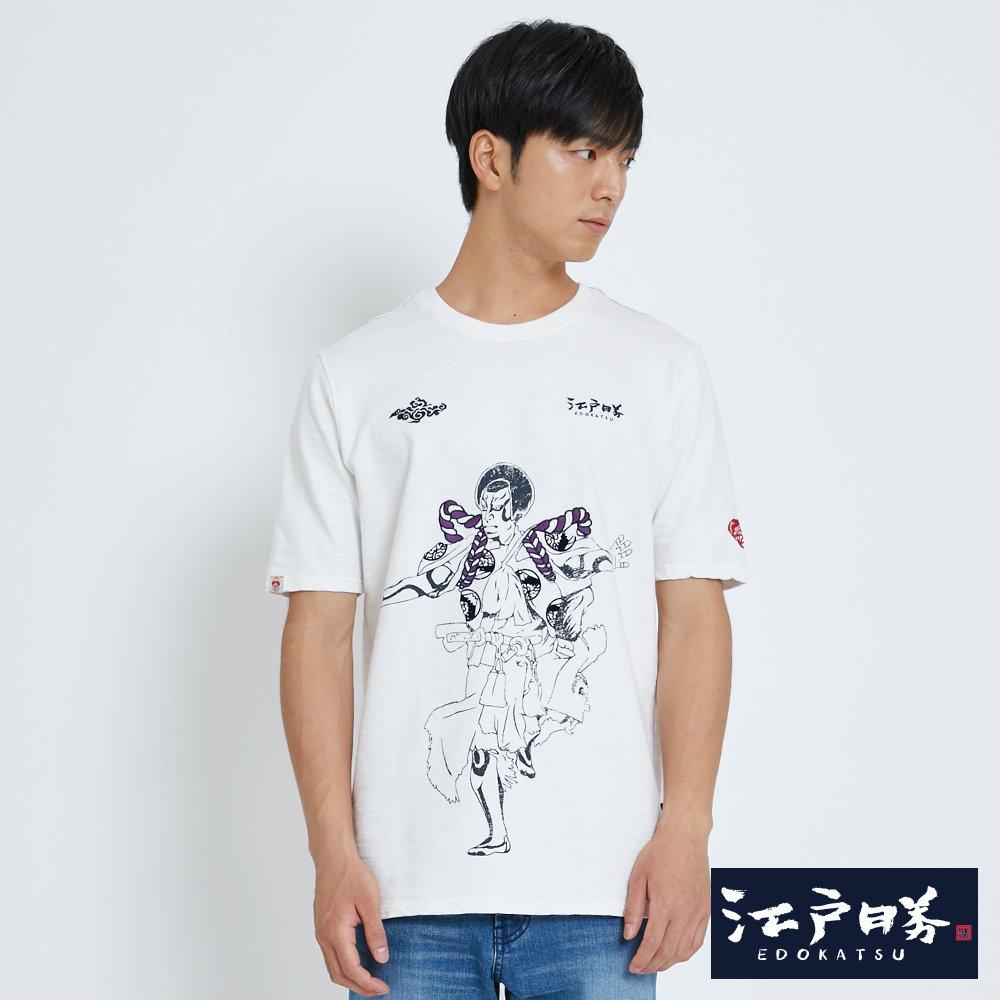 EDWIN 江戶勝 舞技印花寬長版短袖T恤-男-米白色