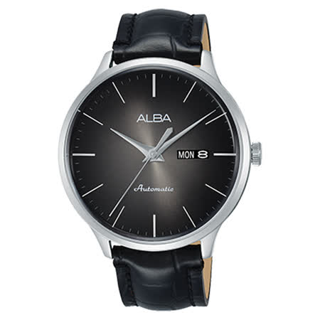 ALBA 機械男錶 皮革錶帶 漸層黑 防水100米 日期/星期顯示 AL4109X1