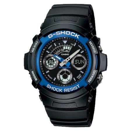 G-SHOCK 簡易裝備輕鬆上手雙顯運動流行腕錶-藍框-AW-591-2A