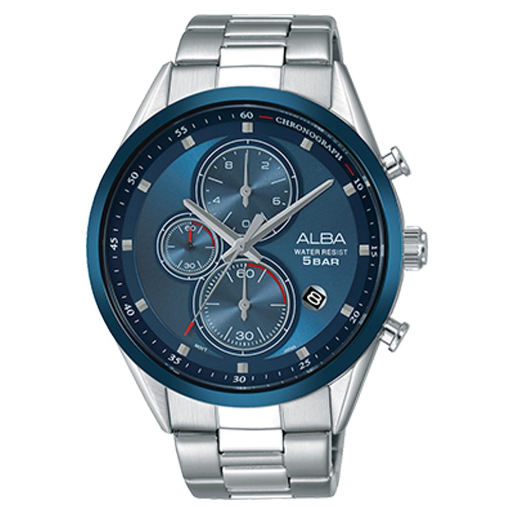 ALBA 三眼計時男錶 不鏽鋼錶帶 藍 防水50米 日期顯示 分段時間 AM3423X1