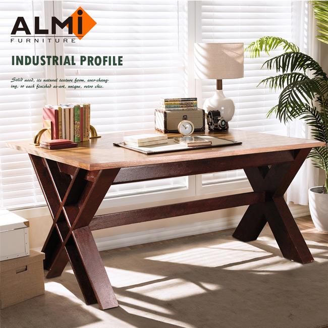 【ALMI】DOCKER PROFILE- TABLE CUISINE CROSS 工業風工作桌(紅棕色)