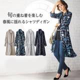 日本代購-portcros襯衫領印花2way長版上衣(共四色/M-3L)