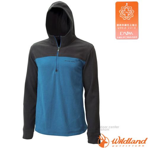 【荒野 WildLand】男款 遠紅外線PILE連帽衣.刷毛保暖衣.機能中層衣./蓄熱保暖.吸濕排汗透氣/0A12508  中藍色