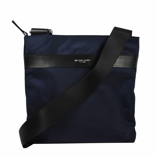 MICHAEL KORS 經典LOGO烙印素面尼龍皮飾邊斜背包.深藍