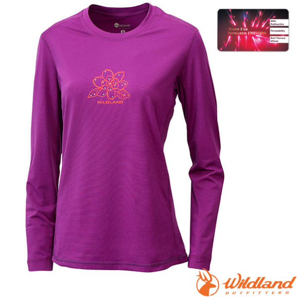 【荒野 WildLand】女款 遠紅外線印花保暖衣.刷毛保暖中層衣.長袖排汗衣/微刷毛蓄熱保暖.吸濕排汗透氣/12655 紫色
