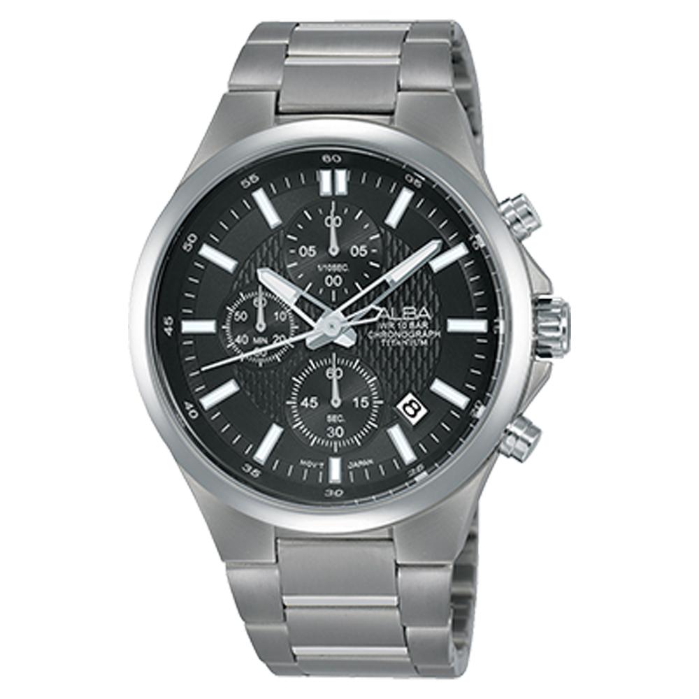 ALBA 三眼計時男錶 鈦金屬錶帶 黑 防水100米 日期顯示 分段時間 AM3519X1