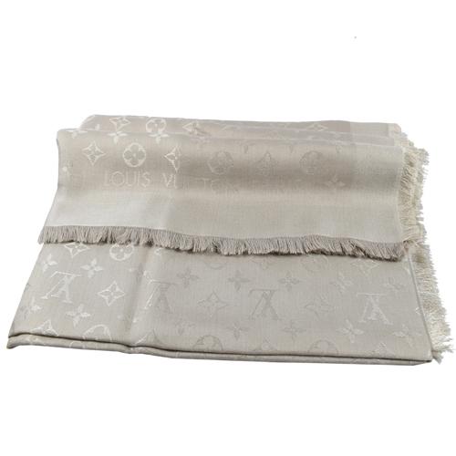 Louis Vuitton LV M71336 Monogram 經典花紋羊毛絲綢披肩圍巾.米色 _現貨