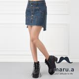 maru.a麻洛野 裙襬抽鬚前短後長牛仔短裙(藍色)