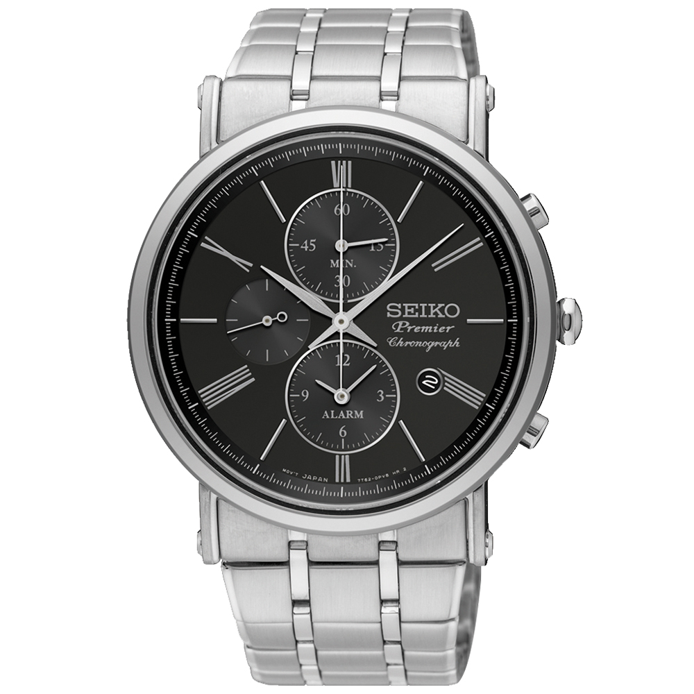 SEIKO 精工 Premier 三眼計時男錶 不鏽鋼錶帶 黑 防水100米 藍寶石玻璃鏡面 日期顯示  SNAF75P1