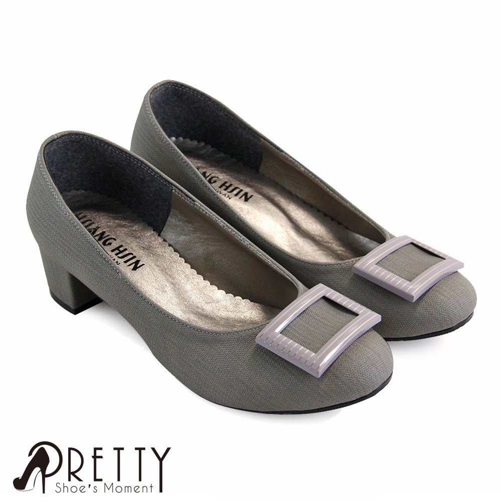 【Pretty】知性橫條方框壓紋中粗跟包鞋