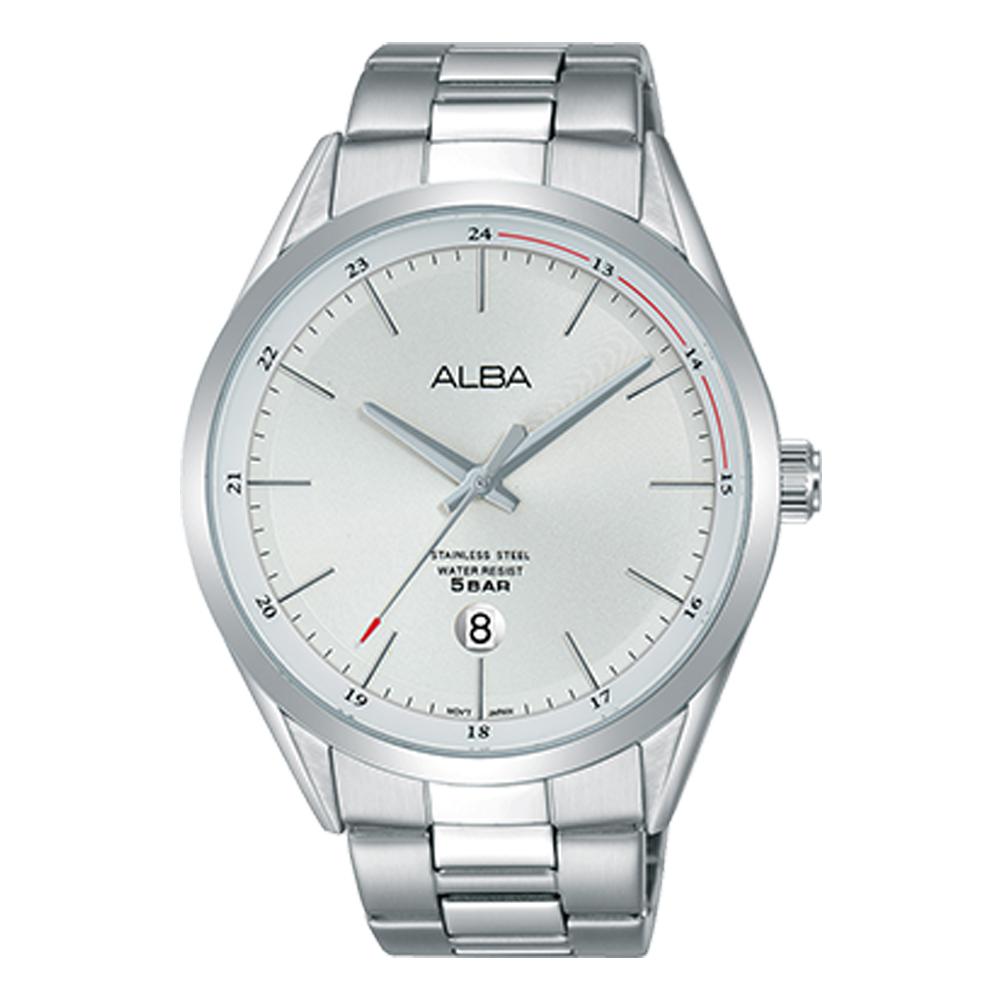 ALBA 石英男錶 不鏽鋼錶帶 銀白 防水50米 日期顯示AS9D35X1