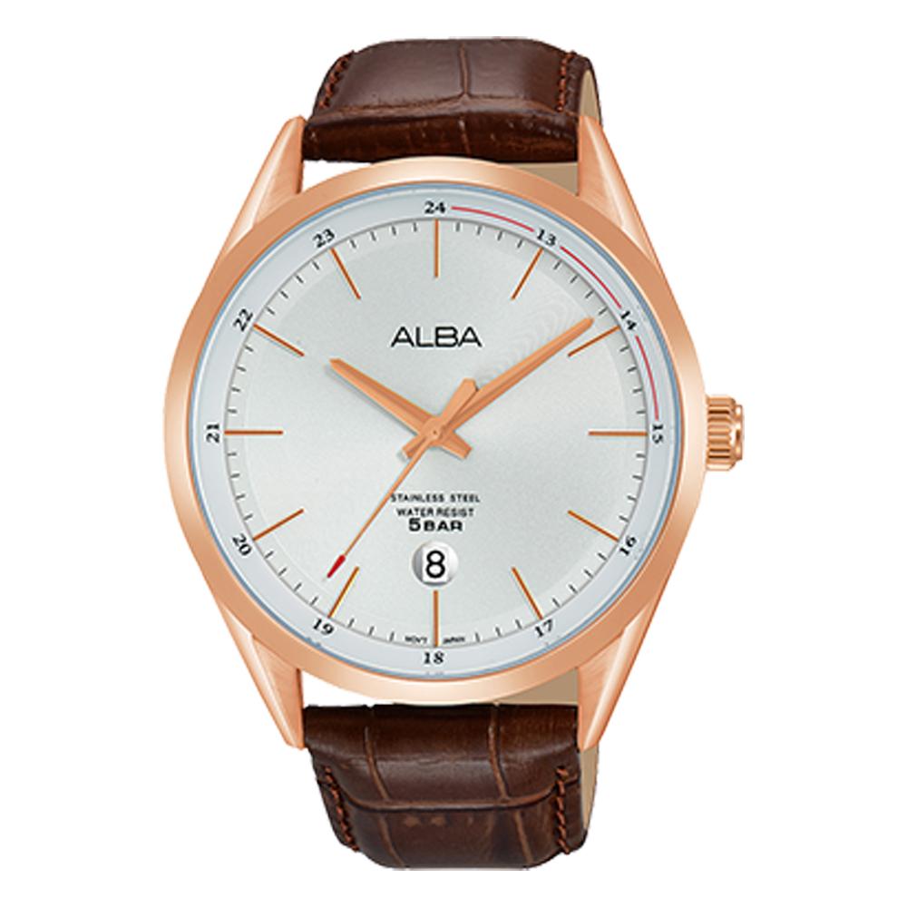 ALBA 石英男錶 皮革錶帶 銀白 防水50米 日期顯示 AS9D36X1