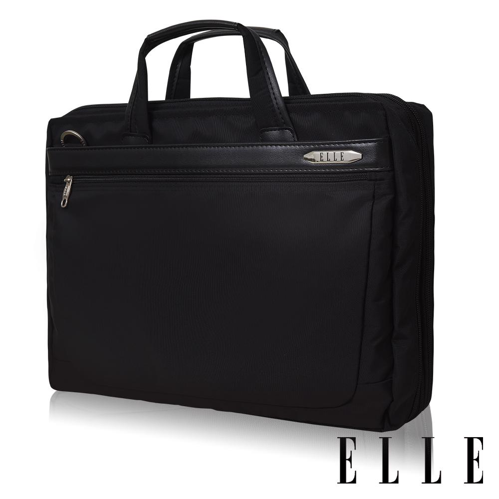ELLE HOMME 第二代尼龍╳皮革雙拉鍊可加大15吋筆電/公事包-黑 EL74166B