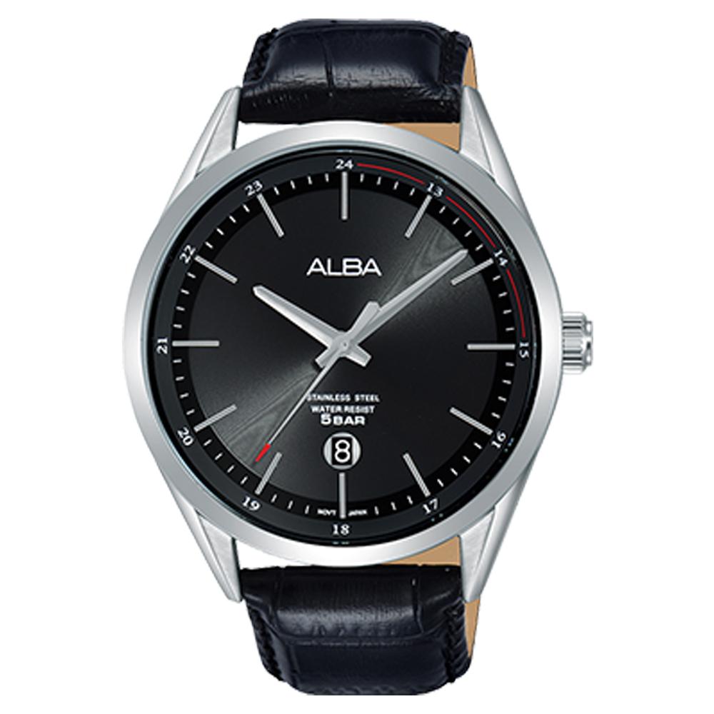 ALBA 石英男錶 皮革錶帶 黑 防水50米 日期顯示 AS9D39X1