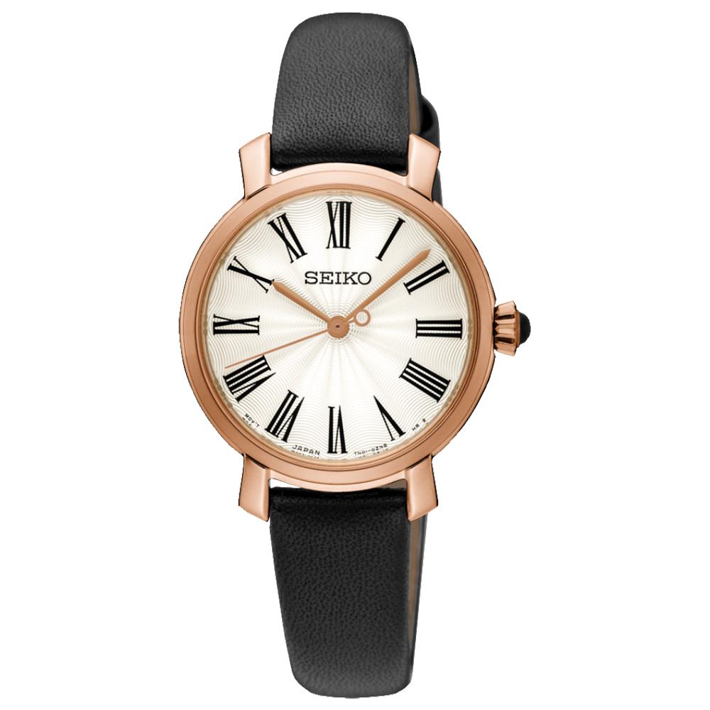 SEIKO 精工 石英女錶 皮革錶帶 防水50米  SRZ500P1