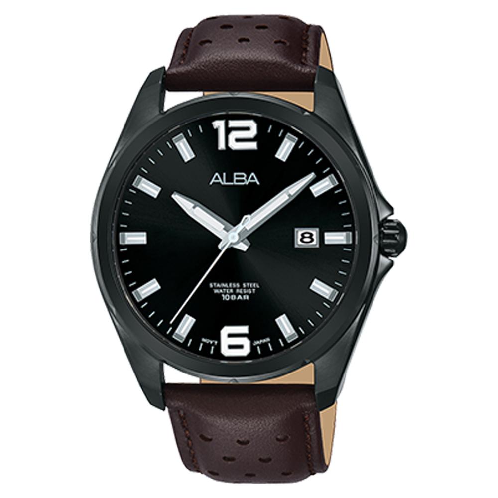 ALBA 雅柏 石英男錶 皮革錶帶 黑 防水100米 日期顯示 AS9D67X1