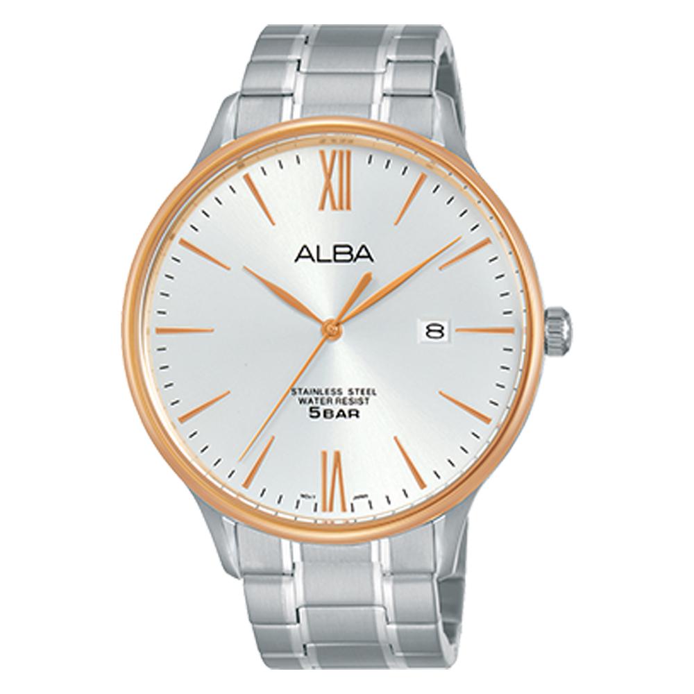 ALBA 雅柏 石英男錶 不鏽鋼錶帶 銀白 防水50米 日 期顯示 AS9E08X1