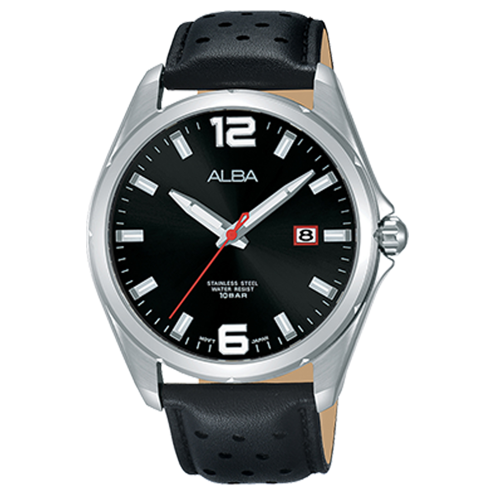 ALBA 雅柏 石英男錶 皮革錶帶 黑 防水100米 日期顯示 AS9D69X1