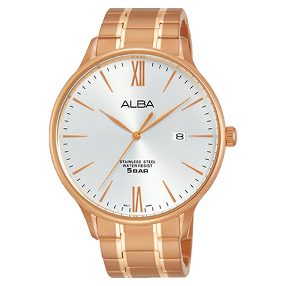 ALBA 雅柏 石英男錶 不鏽鋼錶帶 銀白 防水50米 日期顯示 AS9E04X1