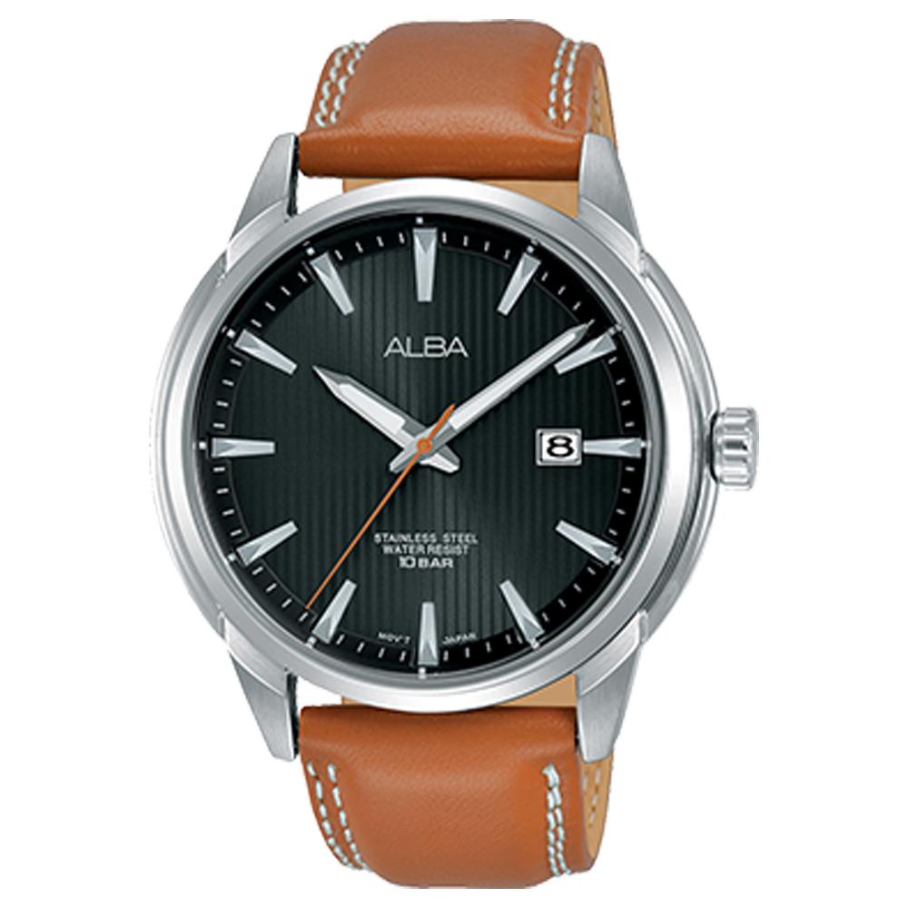 ALBA 雅柏 石英男錶 皮革錶帶 黑 防水100米 日期顯示 AS9E53X1