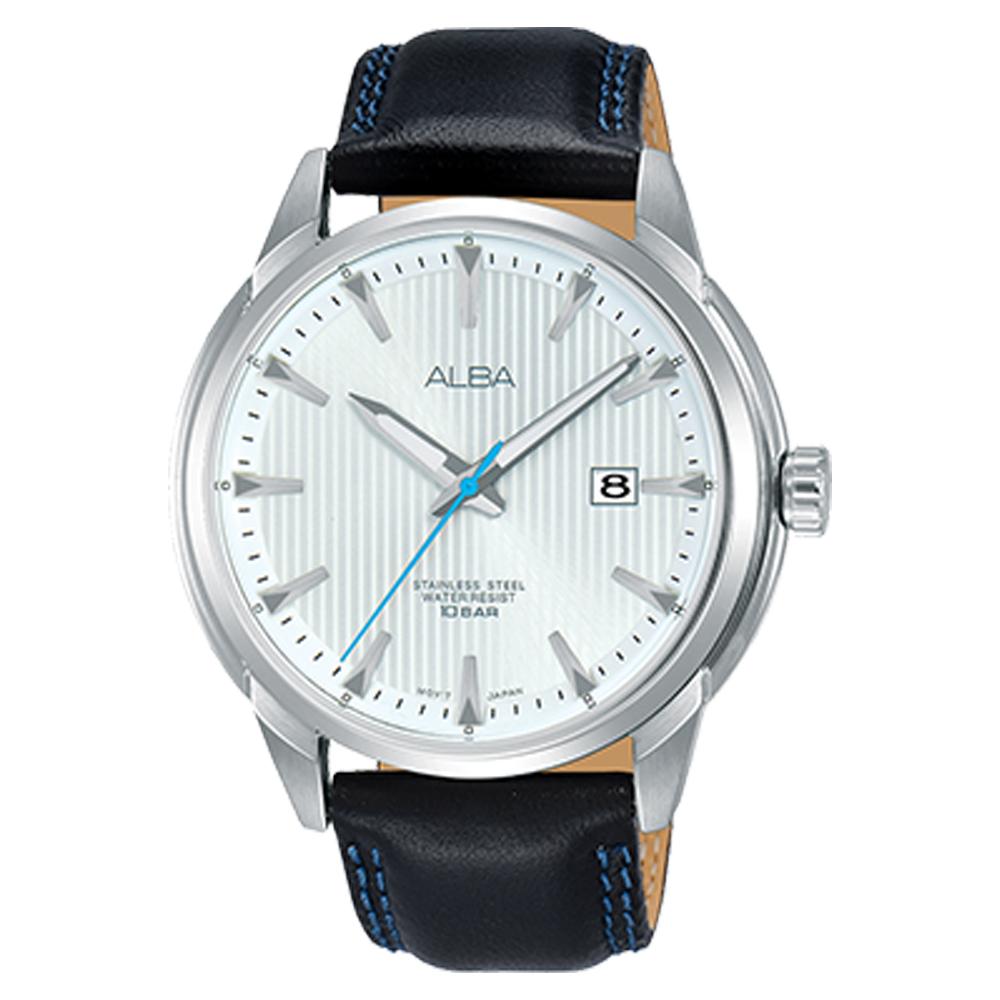 ALBA 雅柏 石英男錶 皮革錶帶 防水100米 日期顯示 銀白 AS9E55X1