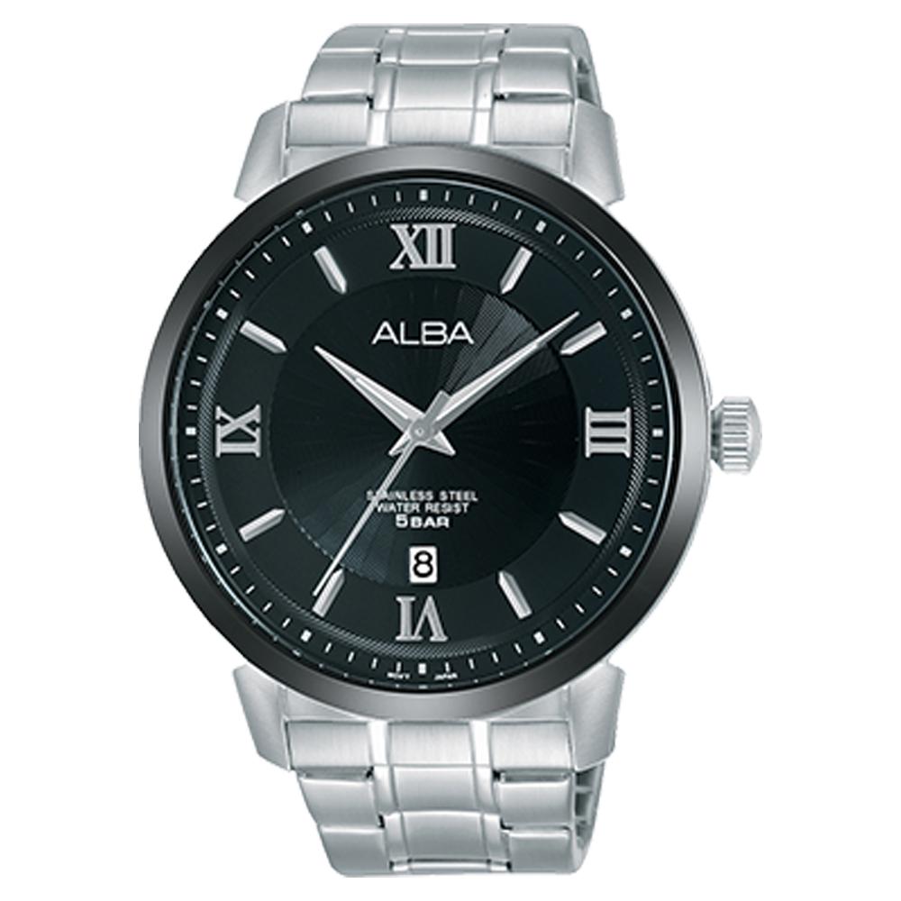 ALBA 雅柏 石英男錶 不鏽鋼錶帶 黑 防水50米 日期顯示 AS9E59X1