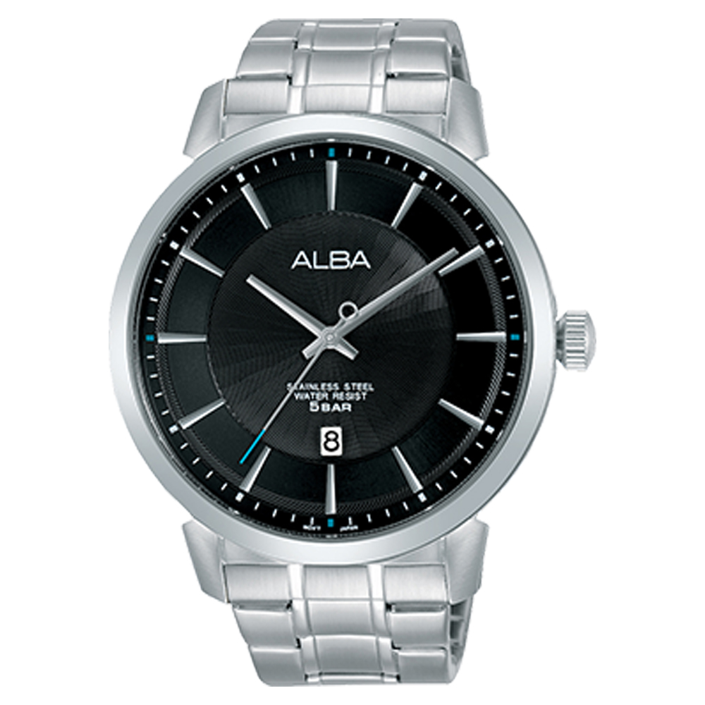 ALBA 雅柏 石英男錶 不鏽鋼錶帶 黑 防水50米 日期顯示 AS9E63X1