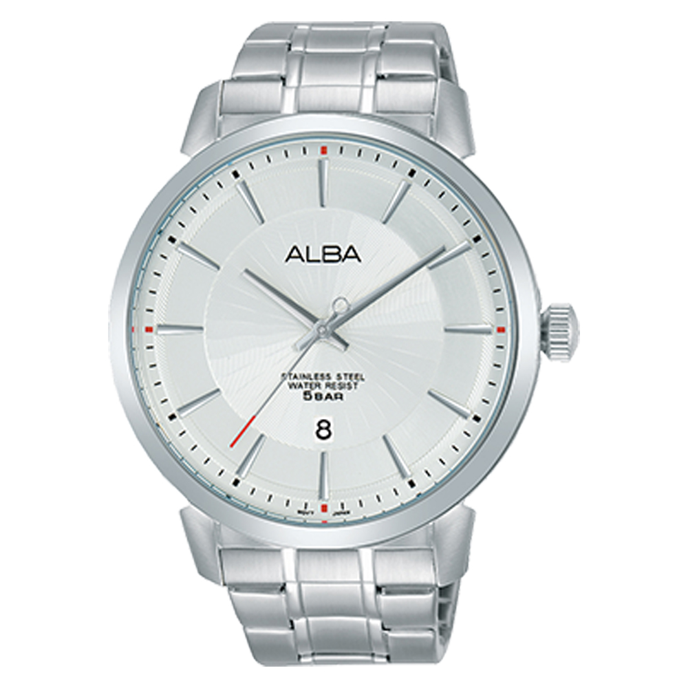 ALBA 雅柏 石英男錶 不鏽鋼錶帶 銀白 防水50米 日期顯示 AS9E65X1