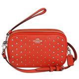 COACH橘色荔枝紋全皮鉚釘貼飾雙層手掛/斜背小包