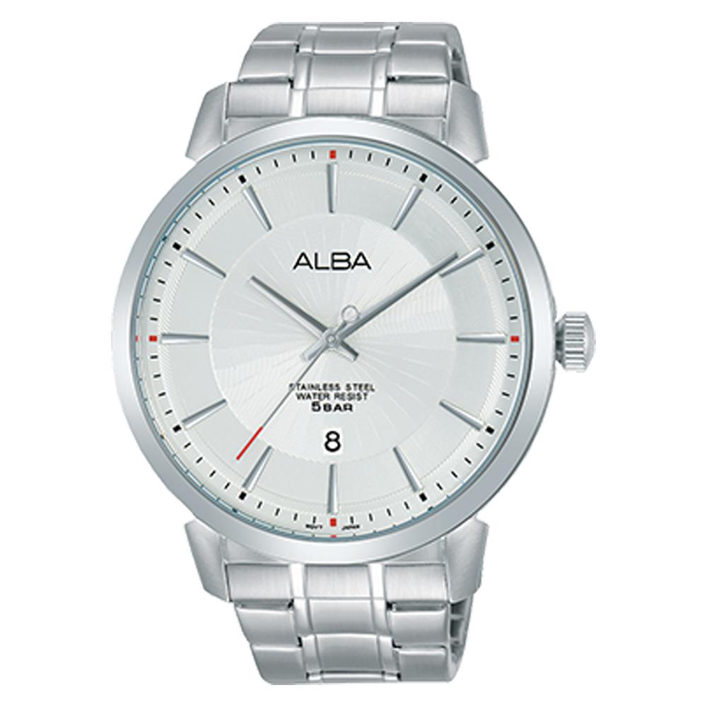 ALBA 雅柏 石英男錶 皮革錶帶 黑 防水50米 日期顯示 AS9E69X1