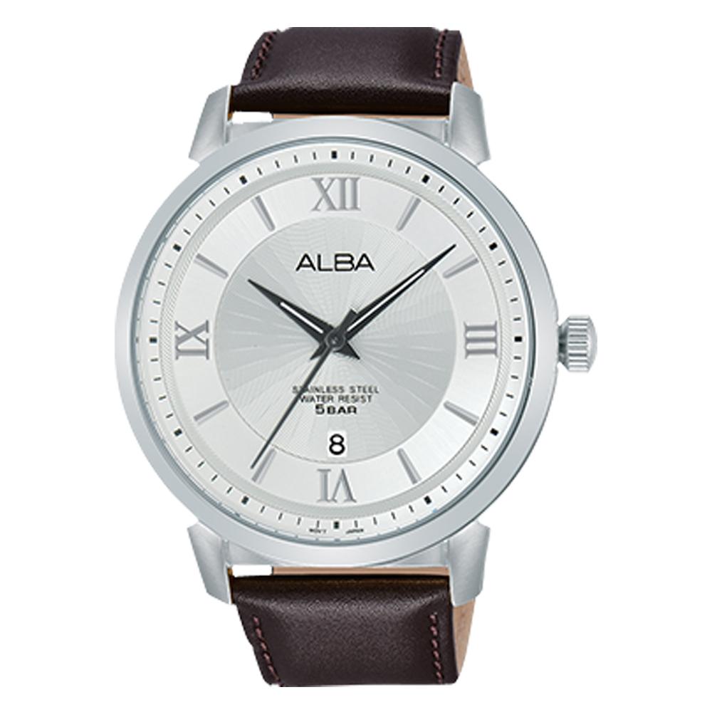 ALBA 雅柏 石英男錶 皮革錶帶 銀白 防水50米 日期顯示 AS9E71X1