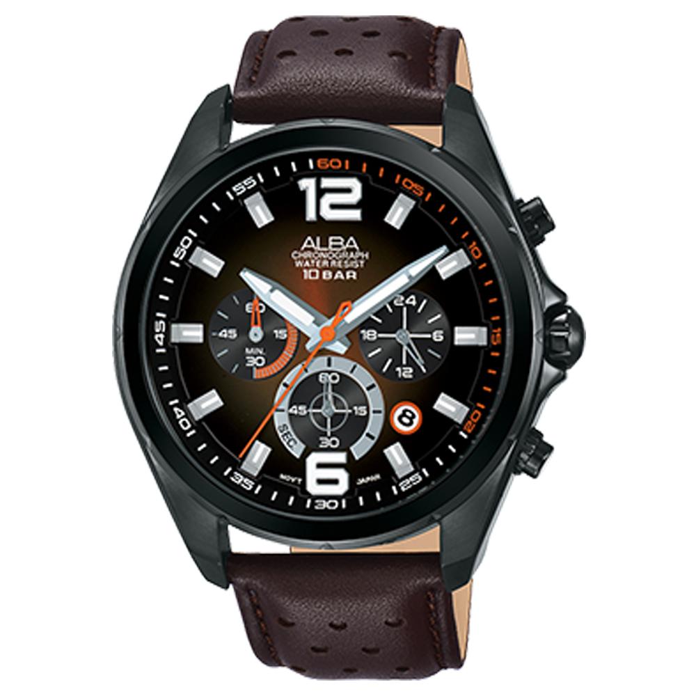 ALBA 雅柏 三眼計時男錶 皮革錶帶 漸層棕 防水100米 日期顯示 分段時間 AT3B55X1
