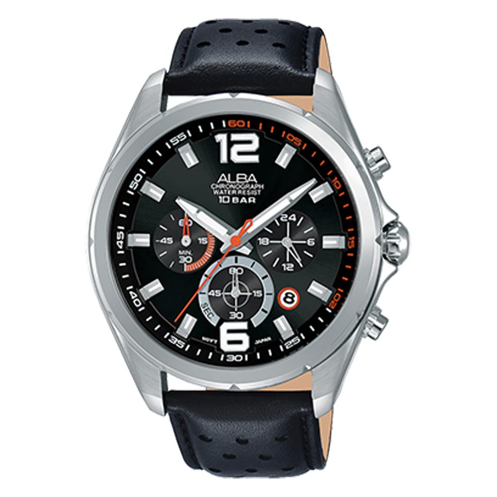 ALBA 雅柏 三眼計時男錶 皮革錶帶 黑 防水100米 日期顯示 分段時間 AT3B59X1