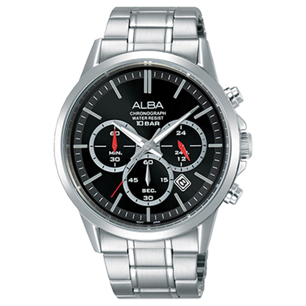 ALBA 雅柏 三眼計時男錶 不鏽鋼錶帶 黑 防水100米 日期顯示 分段時間 AT3B87X1