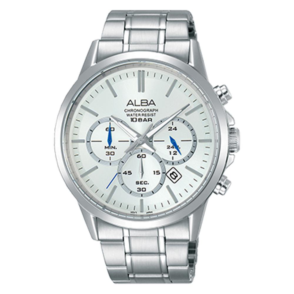 ALBA 雅柏 三眼計時男錶 不鏽鋼錶帶 銀白 防水100米 日期顯示 分段時間 AT3B89X1