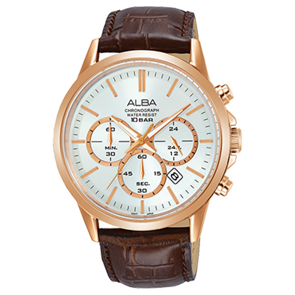 ALBA 雅柏 三眼計時男錶 皮革錶帶 銀白 防水100米 日期顯示 分段時間 AT3B94X1
