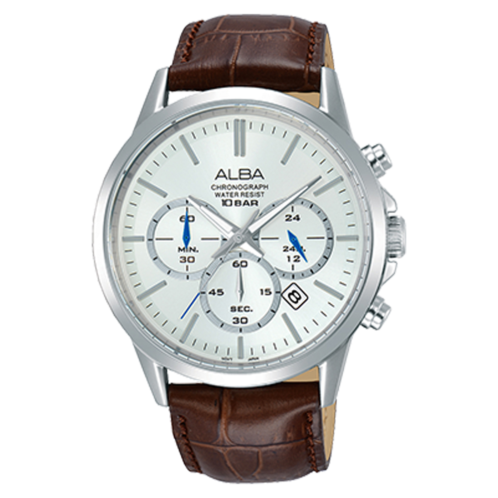 ALBA 雅柏 三眼計時男錶 皮革錶帶 銀白 防水100米 日期顯示 分段時間 AT3B99X1